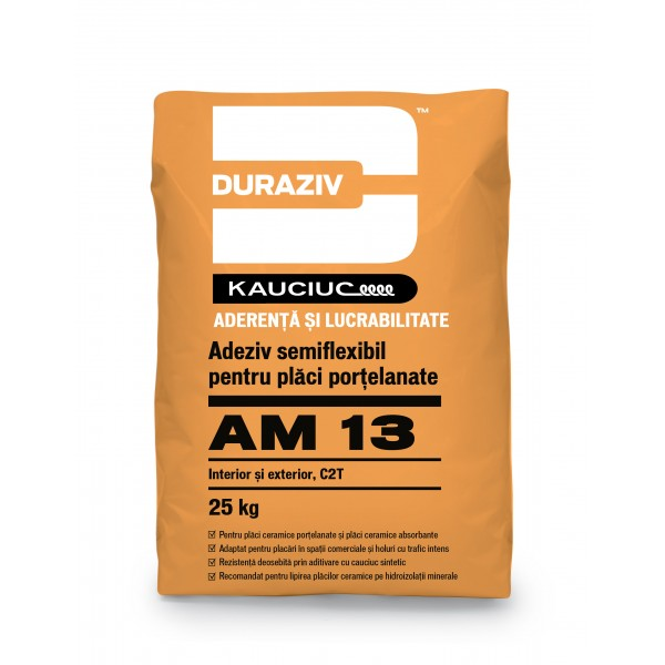 Adeziv semiflexibil pentru placi portelanate, interior si exterior, AM 13, 25 Kg, Duraziv