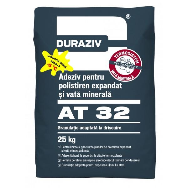 Adeziv si masa de spaclu pentru polistiren expandat si vata minerala AT 32, 25 Kg, Duraziv
